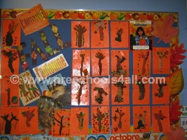 Plasticine Fall Trees Bulletin Board