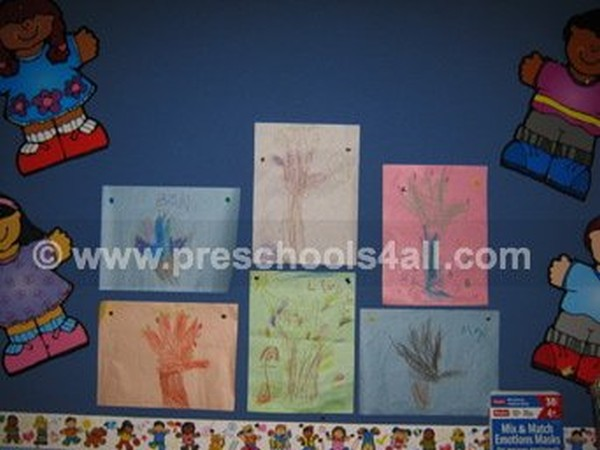 Hand Print Fall Trees Bulletin Board