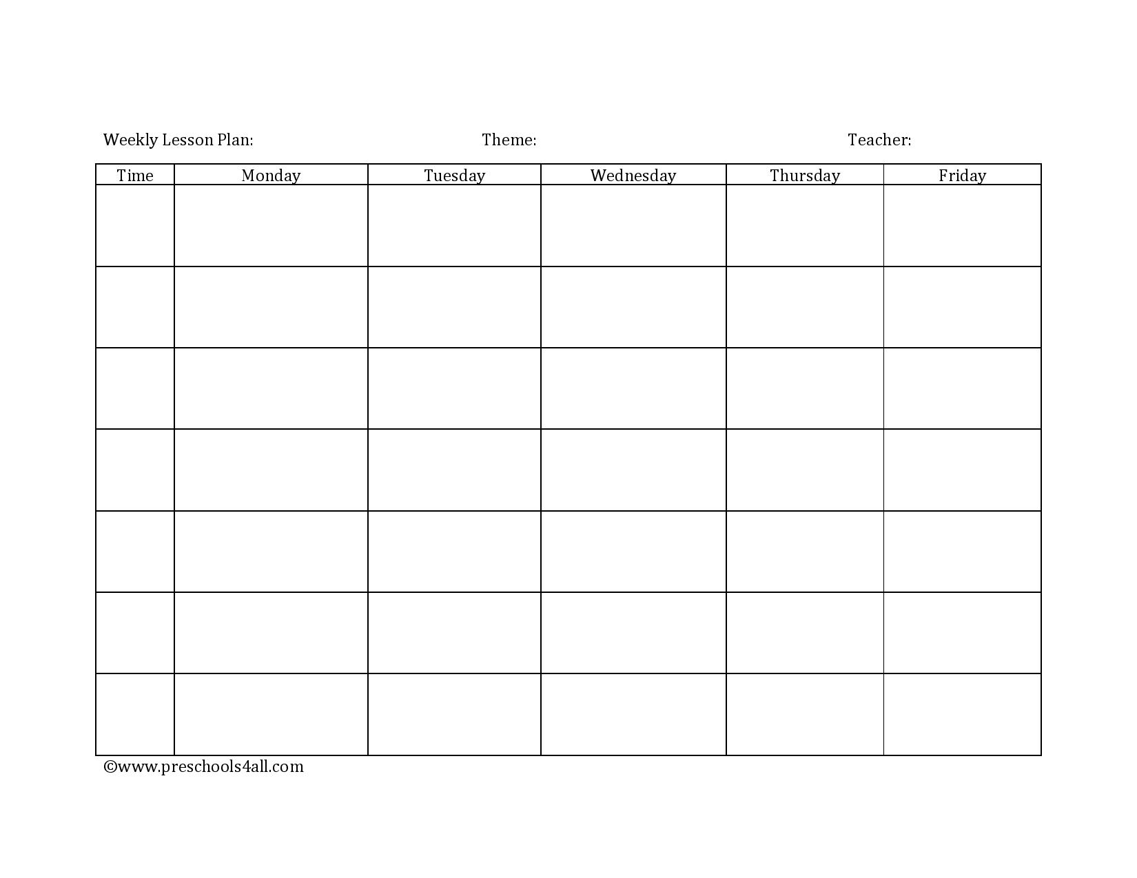 Preschool Lesson Plan Template Lesson Plan Book Template – Free Weekly Lesson Plan Templates