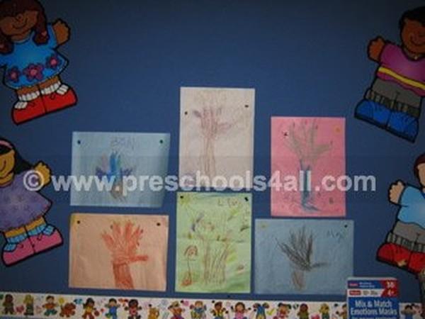 Hand Print Fall Trees Bulletin Board